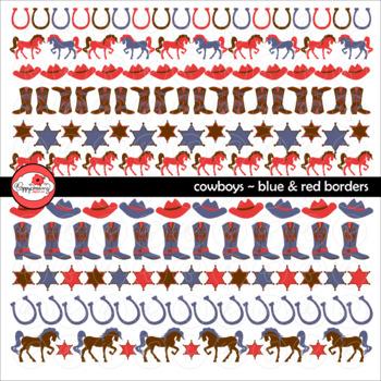 Cowboys Blue & Red Borders by Poppydreamz