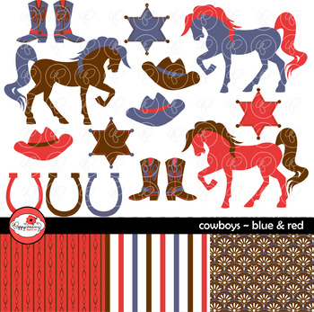 Cowboys Blue & Red ~ Digital Paper and Clipart Set by Poppydreamz