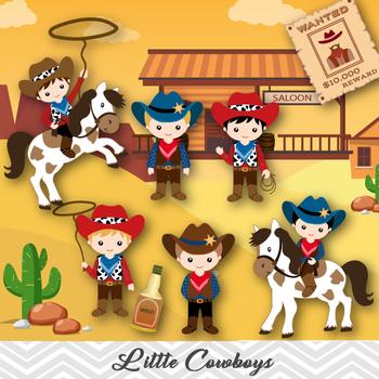 Cowboys Digital Clip Art, Wild West Cowboy Clipart, Cowboy