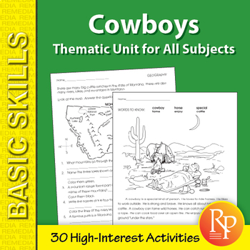 Cowboys: Thematic Skill-Builder Unit for All Subjects