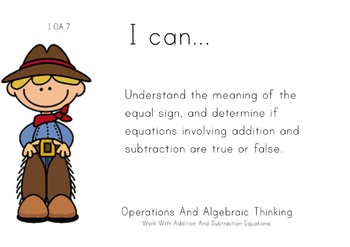 Cowboys Theme 1st grade math Common Core Posters first Grade Standards