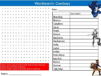 Cowboys Wordsearch Puzzle Sheet Keywords American Wild West History