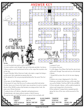 Cowboys and Cattle Trails Comprehension Crossword
