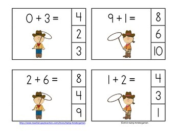 Cowboys and Cowgirls Addition Math Centers (Sums of 0 to 10)