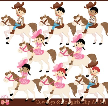 Cowboys and Cowgirls Cow Boys Cow Girls Clipart Set