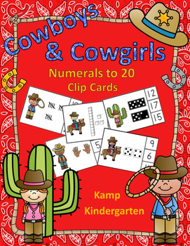 Cowboys and Cowgirls Numerals to 20 Clip Cards