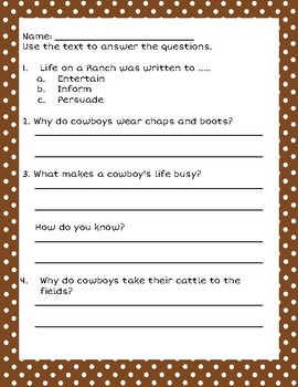 Cowboys and Horses Nonfiction Texts Close Reads