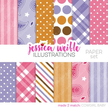 Cowgirl Baby Matching Digital Papers, Pink Purple Papers