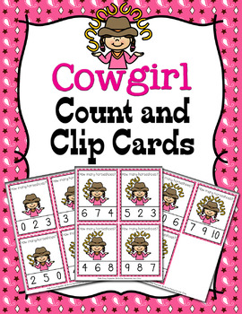 Cowgirl Count and Clip Cards