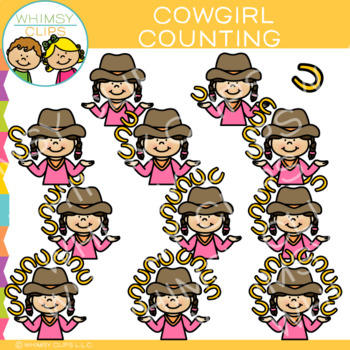 Cowgirl Counting Clip Art