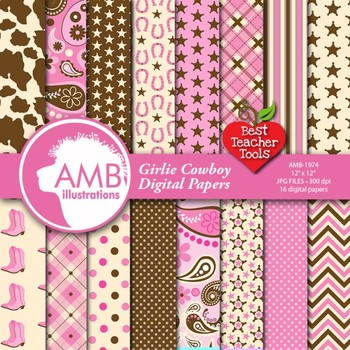 Cowgirl Digital Papers and Backgrounds, Cowboy Theme AMB-1974