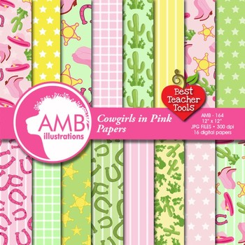 Digital papers - Cowgirl digital papers and backgrounds, AMB-164