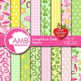Cowgirl Digital Papers and Backgrounds, Cowboy Theme AMB-164