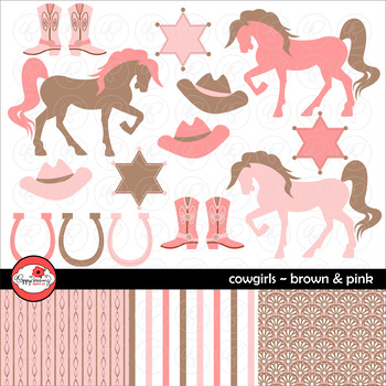 Cowgirls Brown & Pink ~ Digital Paper and Clipart Set by Poppydreamz