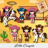 Cowgirls Digital Clip Art, Wild West Digital Cowgirls Clipart, 00183