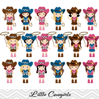 Cowgirls Digital Clip Art, Wild West Digital Cowgirls Clipart, 00183