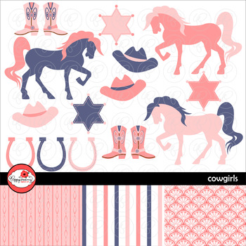 Cowgirls Digital Paper and Clipart Set by Poppydreamz