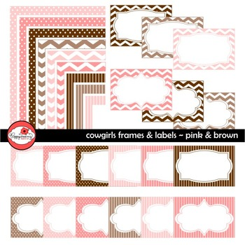 Cowgirls Pink & Brown Frames and Labels Digital Borders Clipart by Poppydreamz