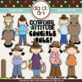 Cowgirls Rule! -  Digi Clip Art/Digital Stamps - CU Clip Art