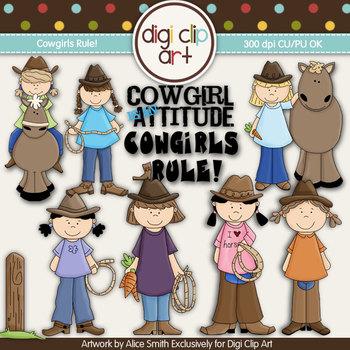 Cowgirls Rule! -  Digi Clip Art/Digital Stamps - CU Clip Art