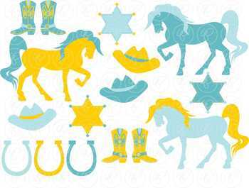 Cowgirls: Turquoise and Gold Digital Paper and Clipart Set by Poppydreamz