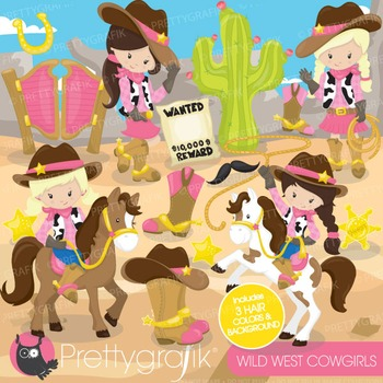 Cowgirls wild west clipart commercial use, vector, digital - CL776
