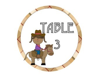 Cowkiddlets Table Numbers 1-4