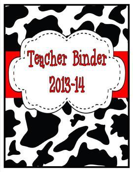 Cowprint Teacher Binder