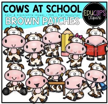 Cows At School - Brown Patches Clipart Art Bundle {Educlips Clipart}