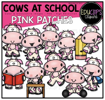 Cows At School - Pink Patches Clipart Art Bundle {Educlips Clipart}
