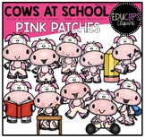 Cows At School - Pink Patches Clipart Art Bundle {Educlips