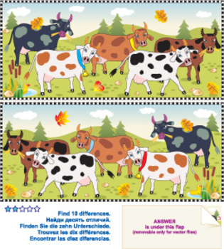 Cows Find the Differences Visual Puzzle, Commercial Use Allowed