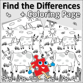 Cows Find the Differences and Coloring Page, Commercial Use Allowed