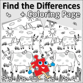Cows Find the Differences and Coloring Page, Commercial Us