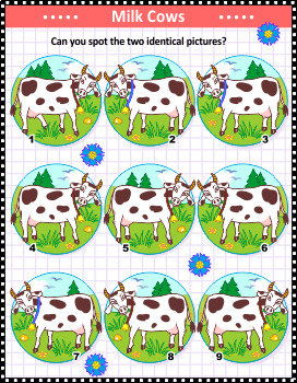 Cows Find the Identicals Visual Puzzle, Commercial Use Allowed