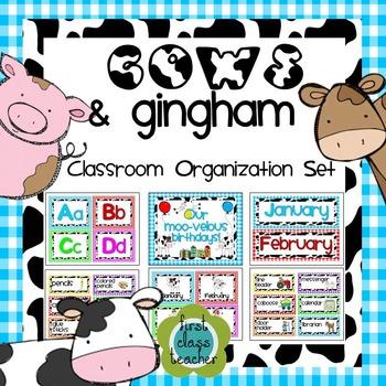 Cows & Gingham (Farm) Classroom Organization and Decor Set