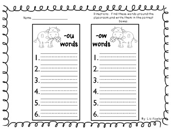 Cows Out on the Town: Sounds of ou and ow Word Word and Literacy Activities