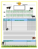Cows Themed Piano Lesson Assignment Sheet