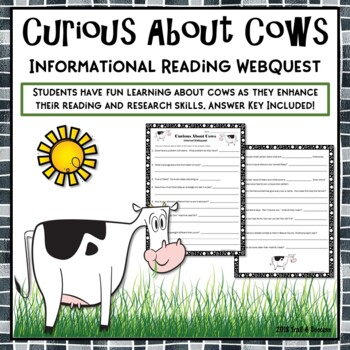 "Cows Webquest - Fun ""Curious Cows"" Reading Internet Search Activity"