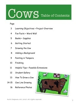 Cows on the Farm Art Lesson for Grades K-3