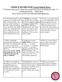 Coyote School News Activities - Choice Board