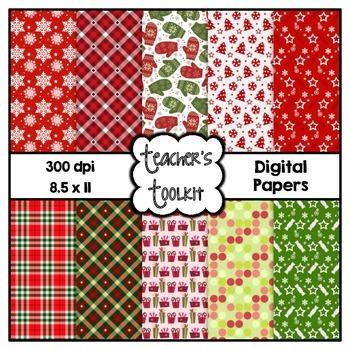 Cozy Christmas Digital Background Papers {8.5 x 11} Clip Art CU OK