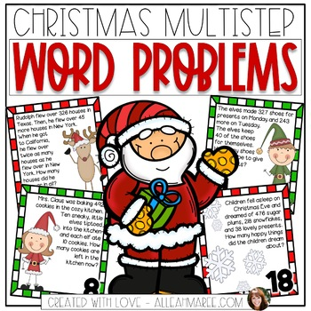 Multistep Word Problem Task Cards: Cozy Christmas Theme