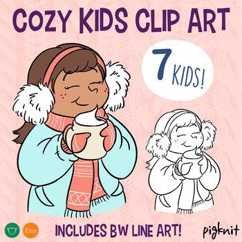 Cozy Kids Clip Art   Set of 7 Winter Holiday Themed Kids