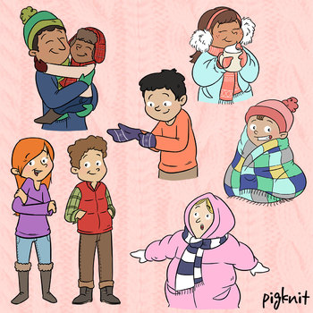 Cozy Kids Clip Art | Set of 7 Winter Holiday Themed Kids