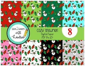 Cozy Snowmen (Scrapbook Paper and Digital Backgrounds)