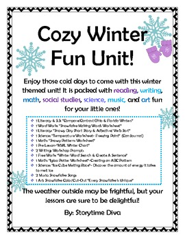 Cozy Winter Fun Unit- Literacy, Math, Science, Social Studies, & The Arts!