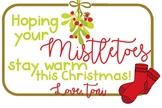 Cozy sock gift tag for Christmas socks - Mistletoe