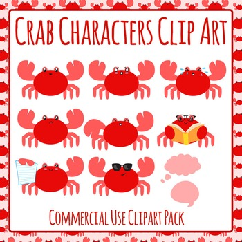 Crab Characters Clip Art Set for Commercial Use