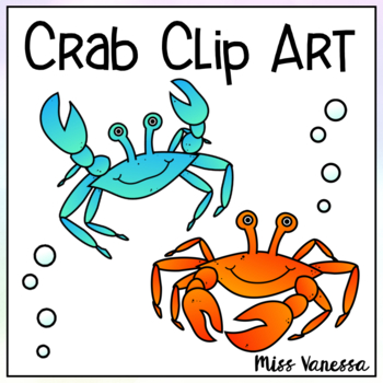 Crab Clip Art ~ Color & Black Line Images Included ~ Ocean Sea, Creatures, Beach